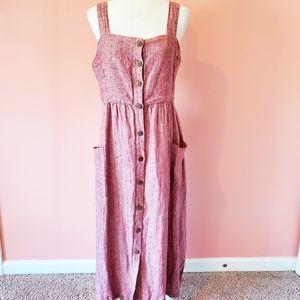 NEW Rachel Zoe Red Linen Midi Dress Bucket Pockets